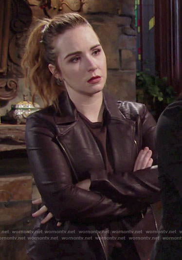 Mariah's purple leather jacket on The Young and the Restless