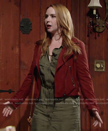 Mariah's red suede moto jacket on The Young and the Restless