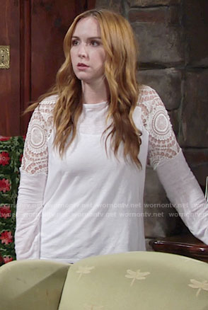 Mariah's white top with crochet sleeves on The Young and the Restless