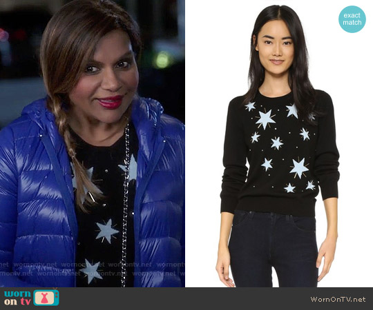 Markus Lupfer Star Embellished Grace Sweater worn by Mindy Kaling on The Mindy Project