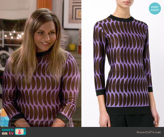 Marni Half Moon Pattern Sweater worn by Mindy Kaling on The Mindy Project