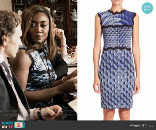 Mary Katrantzou Sleeveless Wavy Print Knit Dress worn by Patina Miller on Madam Secretary