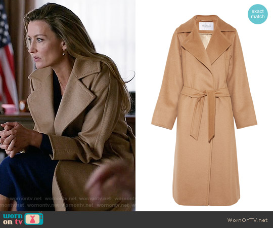 Max Mara Belted Camel Hair Coat worn by Alex Kirkman (Natascha McElhone) on Designated Survivor
