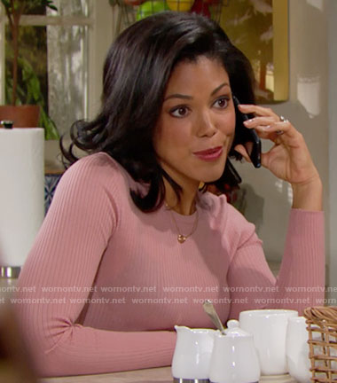 Maya's pink ribbed sweater on The Bold and the Beautiful