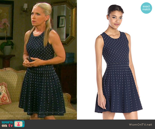 Milly Vertical Dot Flare Dress worn by Jennifer Horton (Melissa Reeves) on Days of our Lives