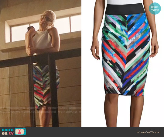Milly Mirage Striped Midi Skirt worn by Felicity Smoak on Arrow