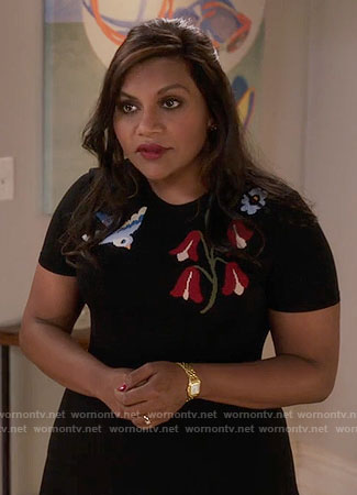 Mindy's bird and flower dress on The Mindy Project