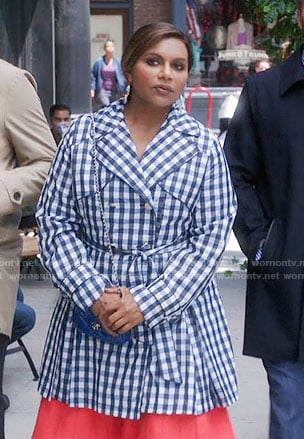 Mindy's blue gingham checked trench coat on The Mindy Project