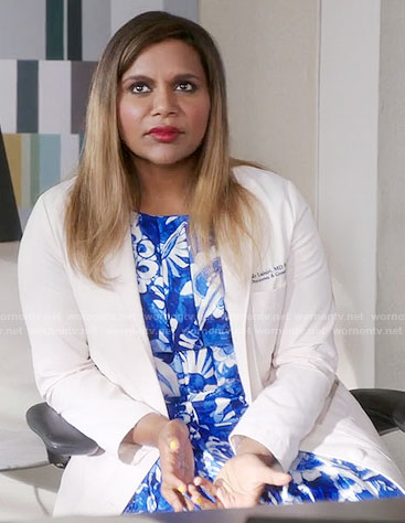 Mindy's blue and white floral dress on The Mindy Project