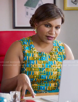 Mindy's blue and yellow textured dress on The Mindy Project