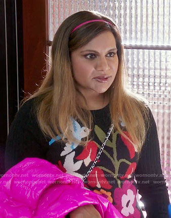 Mindy's bird and flower print sweater on The Mindy Project