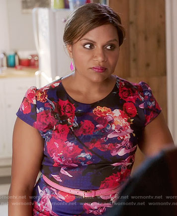 Mindy's floral capped sleeve dress on The Mindy Project