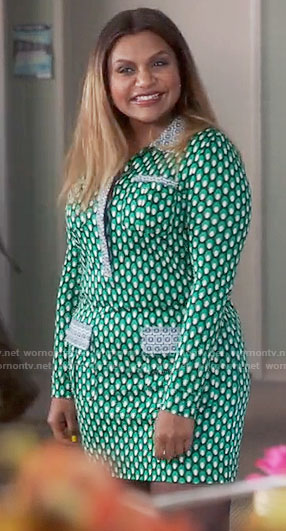 Mindy's green geometric patterned long sleeve dress on The Mindy Project