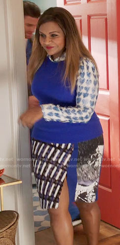Mindy's blue heart print shirt and mixed print skirt on The Mindy Project