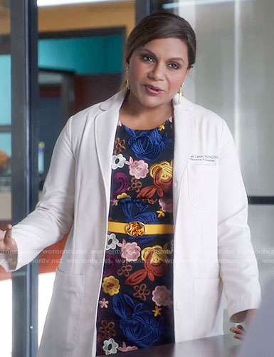 Mindy's multi colored floral embroidered dress on The Mindy Project