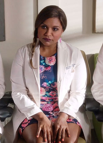 Mindy's blue and pink floral dress on The Mindy Project