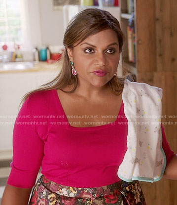 Mindy's pink square neck top and floral skirt on The Mindy Project