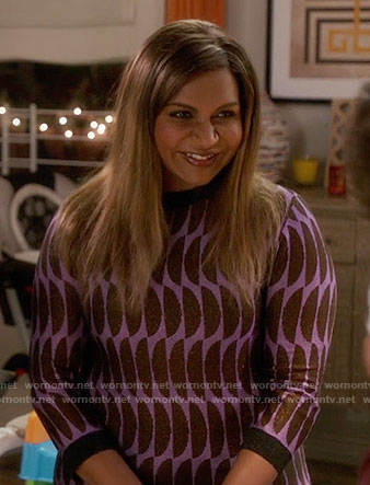 Mindy's purple half circle pattern sweater on The Mindy Project