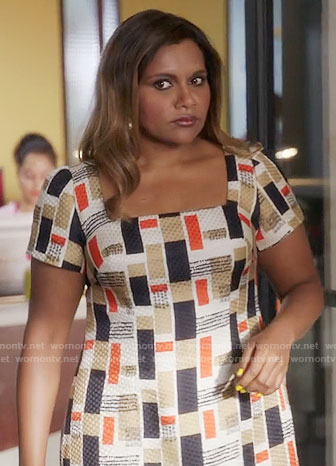 Mindy's rectangle print dress on The Mindy Project