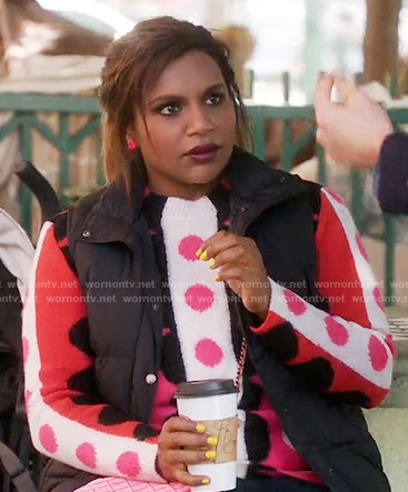 Mindy's pink and red polka dot sweater on The Mindy Project