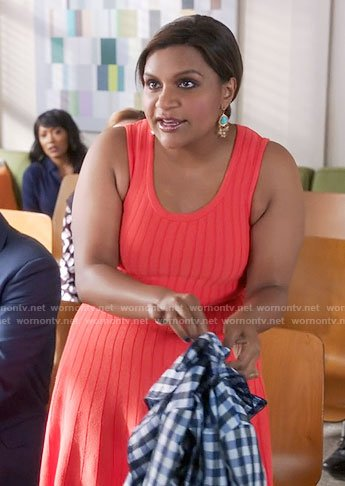 Mindy's red ribbed dress on The Mindy Project