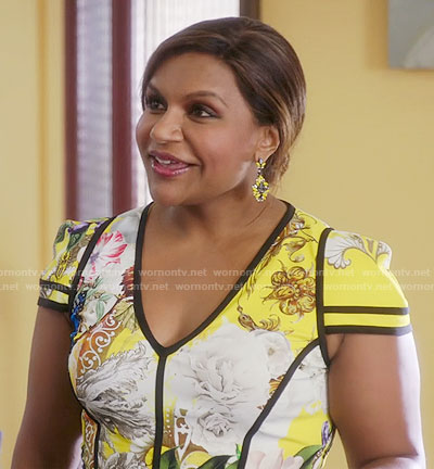 Mindy's yellow floral dress with black trim on The Mindy Project