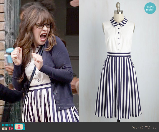 ModCloth Halcyon to a Good Thing Shirt Dress worn by Zooey Deschanel on New Girl
