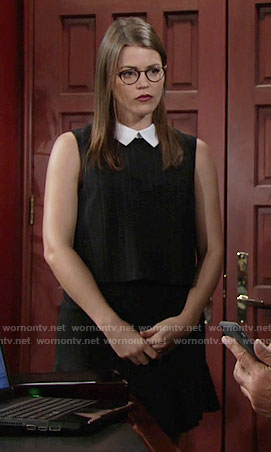 Natalie's pinstriped dress with white collar on The Young and the Restless