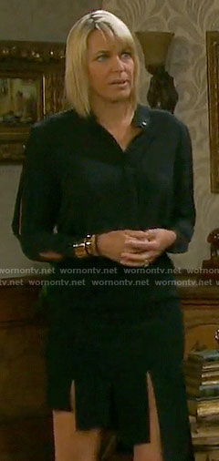 Nicole's black blouse and asymmetrical skirt on Days of our Lives