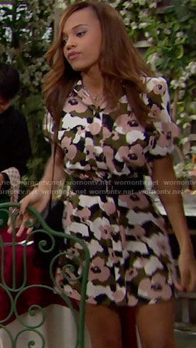 Nicole's floral camouflage shirtdress on The Bold and the Beautiful