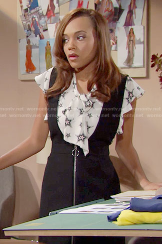Nicole's star print top and zip front pinafore dress on The Bold and the Beautiful