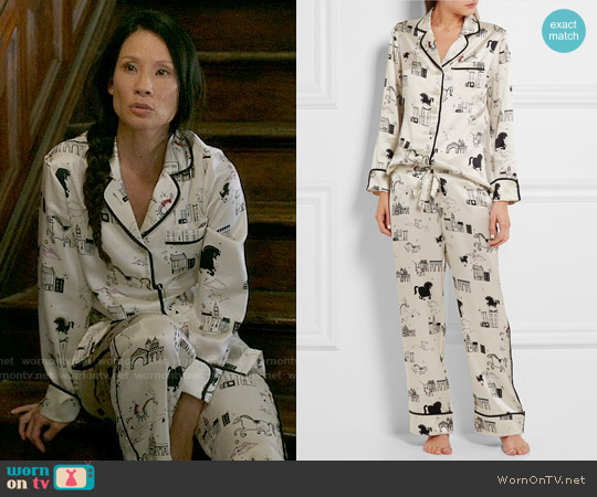 Olivia von Halle Lila Astrid Pajamas worn by Lucy Liu on Elementary