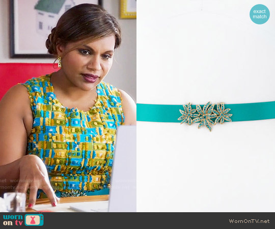 Oscar de la Renta Silk Rhinestone-Buckle Belt in Teal worn by Mindy Lahiri on The Mindy Project