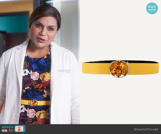 Oscar de la Renta Skinny Faille Jewel Belt worn by Mindy Lahiri on The Mindy Project