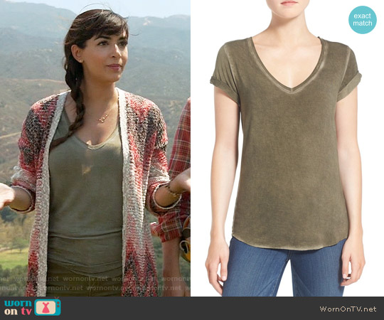 Paige Charlie Tee in Vintage Desert Olive worn by Cece Parekh on New Girl