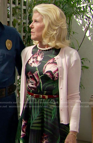 Pam's palm leaf print dress on The Bold and the Beautiful