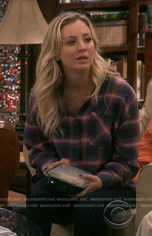 Penny's navy and pink plaid shirt on The Big Bang Theory
