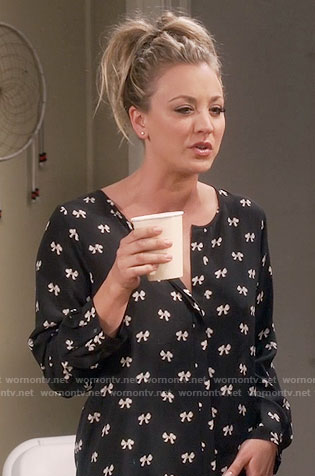 Penny's black and white bow print blouse on The Big Bang Theory