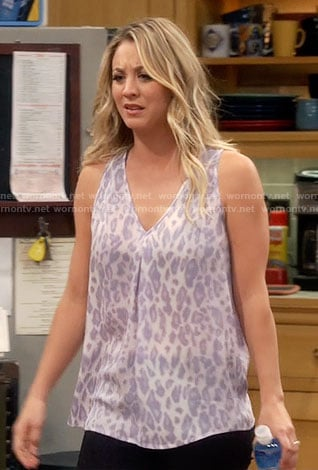 Penny's v-neck leopard print top on The Big Bang Theory