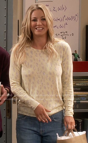 Penny's yellow leopard print sweater on The Big Bang Theory