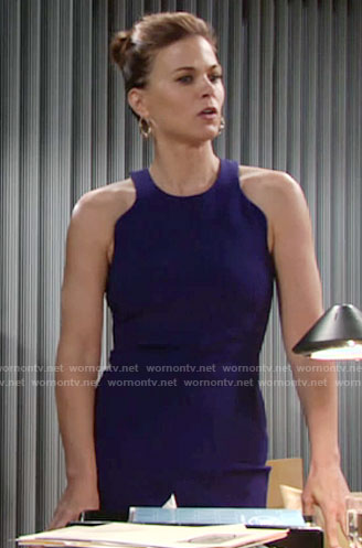 Phyllis's blue dress with cutout back on The Young and the Restless