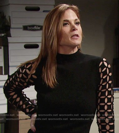 Phyllis's black dress with eyelet sleeves on The Young and the Restless
