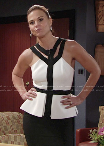 Phyllis's black and white strappy peplum top on The Young and the Restless
