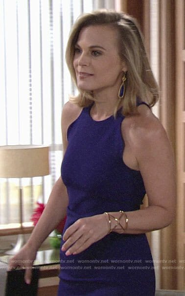 Phyllis's blue dress with wavy trim on The Young and the Restless