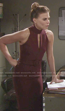 Phyllis's purple keyhole cutout dress on The Young and the Restless