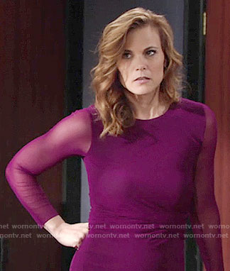 Phyllis's magenta dress with sheer sleeves on The Young and the Restless