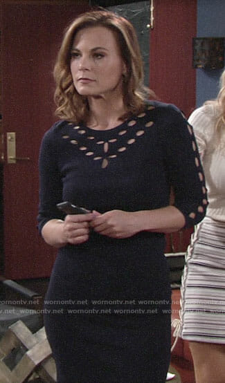 Phyllis's navy dress with circle cutouts on The Young and the Restless