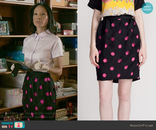 Prabal Gurung Laser Cut Polka Dot Skirt worn by Lucy Liu on Elementary