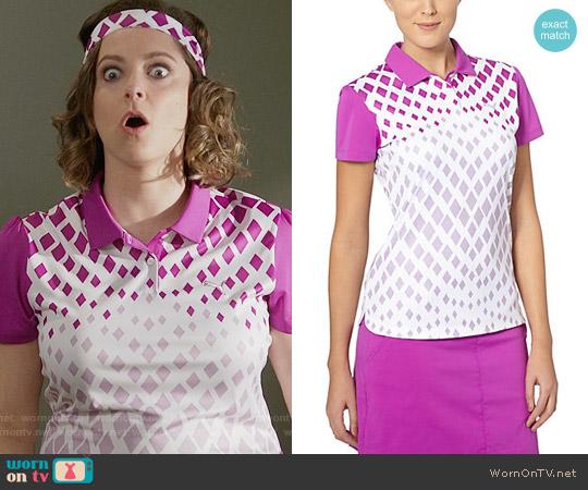 Puma Diamond Graphic Golf Polo Shirt worn by Rebecca Bunch (Rachel Bloom) on Crazy Ex-Girlfriend