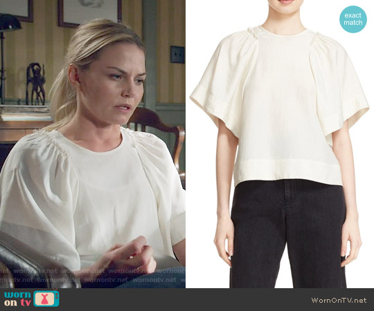 Rachel Comey 'Ravine' Bell Sleeve Silk & Linen Top worn by Jennifer Morrison on OUAT